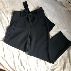Wilfred Aritzia Black Tie Front Cropped Pants